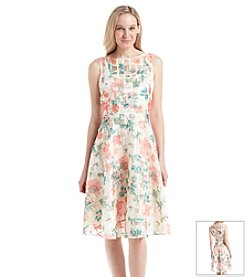 Gabby Skye® Floral Burnout Midi Dress