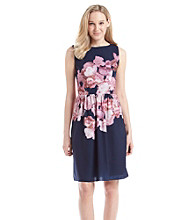 Adrianna Papell Floral Chiffon Dress