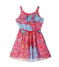 Amy Byer Girls' 4-6X Print Tiered Dress