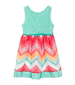 Rare Editions® Girls' 7-16 Lace Chevron Dress