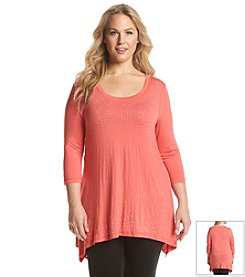 Laura Ashley® Plus Size Solid Crescent Hem Tunic