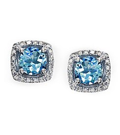Effy® 0.12 ct. t.w. Diamond and Aquamarine Earrings in 14K White Gold
