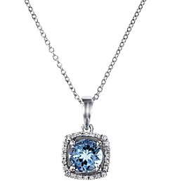 Effy® 0.07 ct. t.w. Diamond and Aquamarine Pendant in 14K White Gold