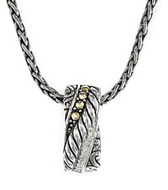 Effy® 0.04 ct. t.w. Diamond Pendant Necklace in 18K Gold and Silver