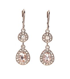 Napier®  Rose Goldtone And Simulated Crystal Double Drop Earrings