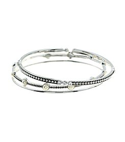 Napier® Silvertone Bangle Bracelet Set In Gift Box