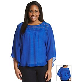 AGB® Plus Size Solid Crochet Trim Peasant Top
