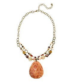 Ruby Rd.® Goldtone Beaded Pendant Necklace