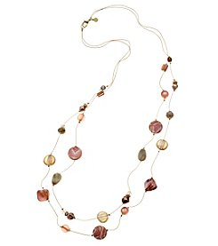Ruby Rd. Goldtone Two Row Skinny Bead Illusion Necklace