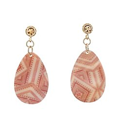 Ruby Rd.® Goldtone Post Top Printed Shell Tear Drop Earrings