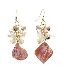 Ruby Rd.® Goldtone Nugget Shell Cluster Earrings