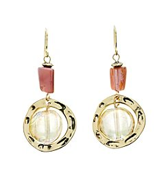 Ruby Rd.® Goldtone Double Bead Hammered Ring Earrings