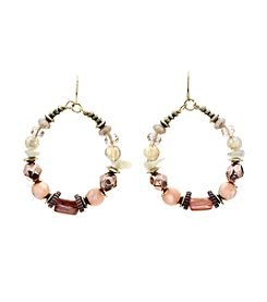 Ruby Rd.® Goldtone Beaded Gypsy Hoop Earrings