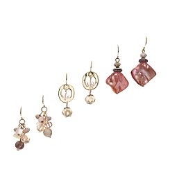 Ruby Rd.® Goldtone Trio Beaded Drop Earrings Set