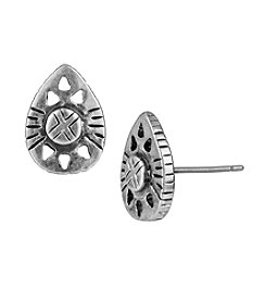 The Sak® Silvertone Pear Etched Stud Earrings