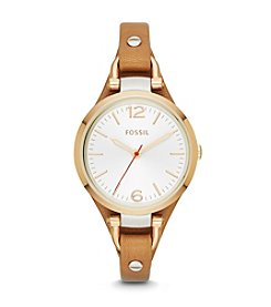 Fossil® Women's Georgia Watch in Goldtone with Saddle Leather Strap