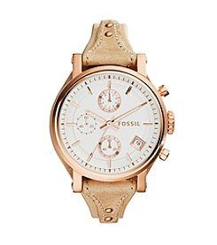 Fossil® Women's Original Boyfriend Watch in Rose Goldtone with Tan Leather Strap