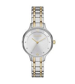 Skagen Denmark Womens Anita Watch In Two Tone With Metal Link Bracelet