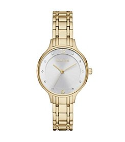 Skagen Denmark Womens Anita Watch In Goldtone With Metal Link Bracelet