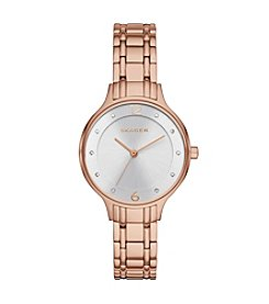 Skagen Denmark Womens Anita Watch In Rose Goldtone With Metal Link Bracelet