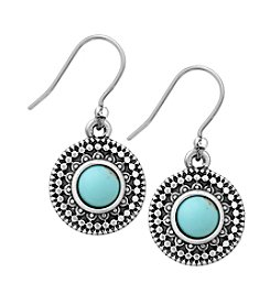 Lucky Brand® Silvertone Turquoise Drop Earrings