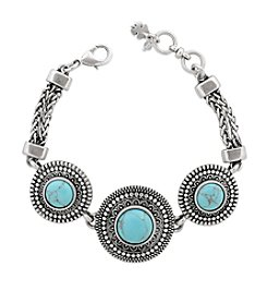 Lucky Brand® Silvertone Turquoise Link Bracelet