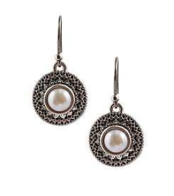 Lucky Brand® Silvertone Culted Freshwater Pearl Small Drop Earrings