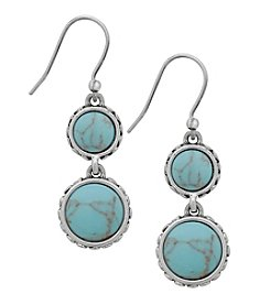 Lucky Brand® Silvertone Turquoise Double Drop Earrings