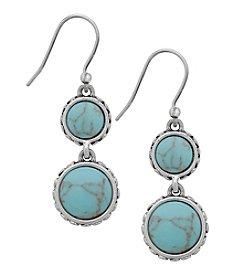 Lucky Brand® Silvertone Turquoise Double Drop Earrings
