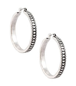 Lucky Brand® Silvertone Etched Hoop Earrings