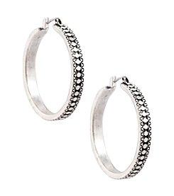 Lucky Brand® Silvertone Etched Hoop Earrings