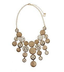 Erica Lyons® Goldtone Filigree Disks And Coins Fringe Bib Statement Necklace