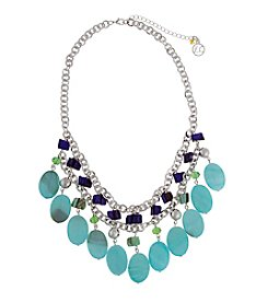 Erica Lyons® Silvertone Devil In A Blue Dress Ovals Fringe Necklace