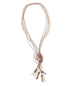 Erica Lyons® Goldtone Pretty In Pink Long Beaded Tassel Necklace