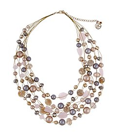 Erica Lyons® Goldtone Pretty In Pink Multi Row Illusion Necklace