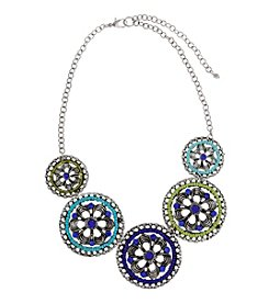 Erica Lyons® Silvertone Devil In A Blue Dress Circles Front Necklace