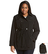 Calvin Klein Plus Size Double-Breasted Belted Trench