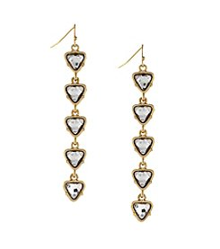 Jessica Simpson Goldtone Stone Linear Drop Earrings