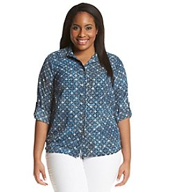 MICHAEL Michael Kors® Plus Size Printed Roll-Tab Top
