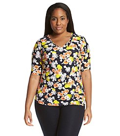 Jones New York Sport® Plus Size Floral V-Neck Tee