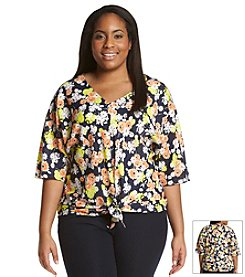 Jones New York Signature® Plus Size Tie Front Floral Blouse