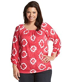 Jones New York Sport® Plus Size Tie Dye Peasant Top