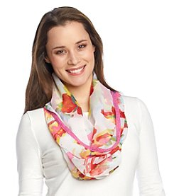 Collection 18 Brush Stroke Floral Mini Loop Scarf