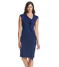 Anne Klein® Ponte Asymmetrical Neck Dress