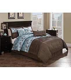 Monroe Chocolate and Aqua Pleat 8-pc. Comforter Set