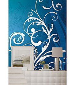 RoomMates Wall Decals Blue and White Scroll Prepasted Mural