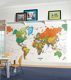 RoomMates Wall Decals World Map Prepasted Mural