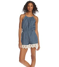 Sequin Hearts® Crochet Trim Chambray Romper