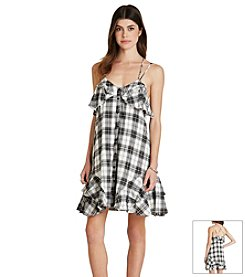 BCBGeneration™ Plaid Ruffle Hem Dress