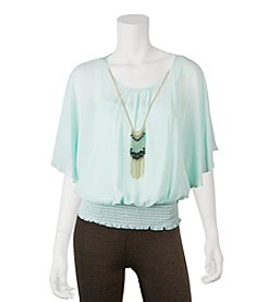 A. Byer Butterfly Top With Necklace
